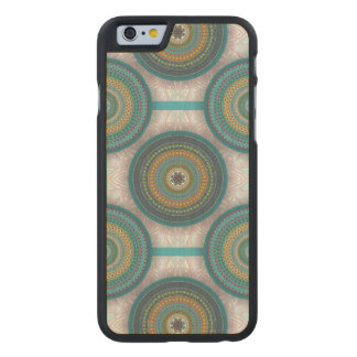 Colorful abstract ethnic floral mandala pattern carved maple iPhone 6 case