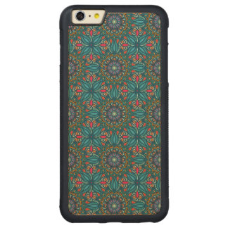 Colorful abstract ethnic floral mandala pattern carved maple iPhone 6 plus bumper case