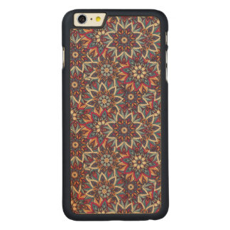 Colorful abstract ethnic floral mandala pattern carved maple iPhone 6 plus case