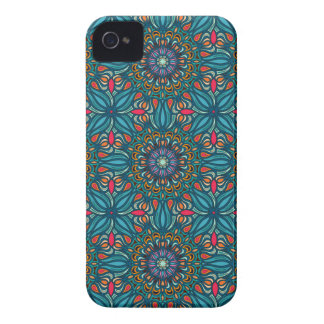 Colorful abstract ethnic floral mandala pattern Case-Mate iPhone 4 cases