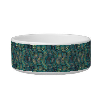 Colorful abstract ethnic floral mandala pattern cat food bowl