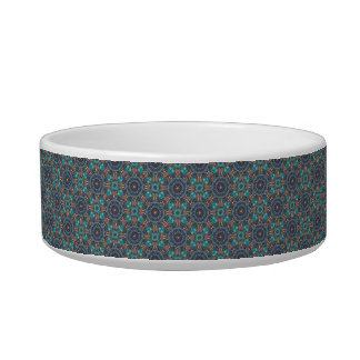 Colorful abstract ethnic floral mandala pattern cat water bowls