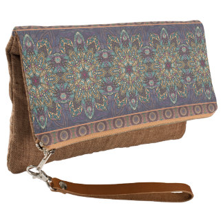 Colorful abstract ethnic floral mandala pattern clutch