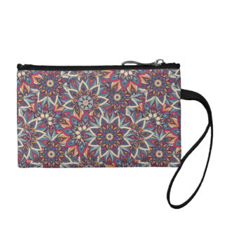 Colorful abstract ethnic floral mandala pattern coin purse