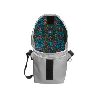 Colorful abstract ethnic floral mandala pattern commuter bag