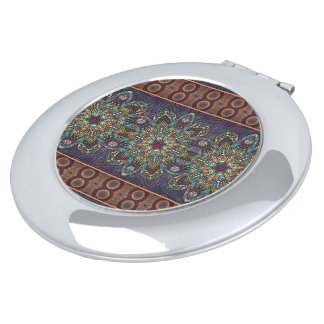 Colorful abstract ethnic floral mandala pattern compact mirrors
