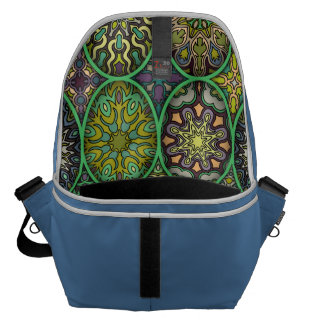 Colorful abstract ethnic floral mandala pattern courier bag