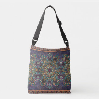 Colorful abstract ethnic floral mandala pattern crossbody bag