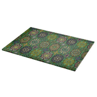 Colorful abstract ethnic floral mandala pattern cutting board