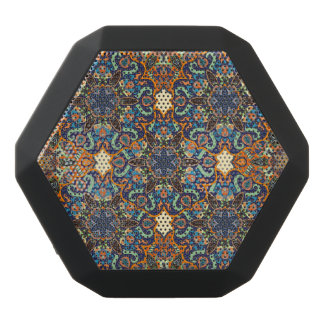 Colorful abstract ethnic floral mandala pattern de black bluetooth speaker