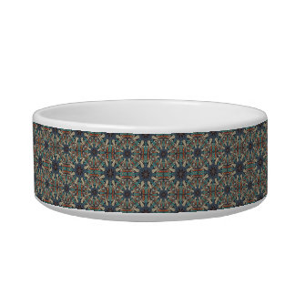 Colorful abstract ethnic floral mandala pattern de cat food bowl