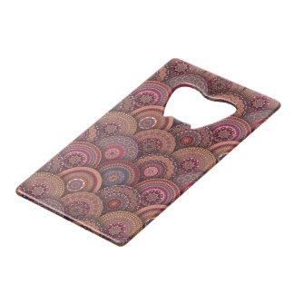 Colorful abstract ethnic floral mandala pattern de credit card bottle opener
