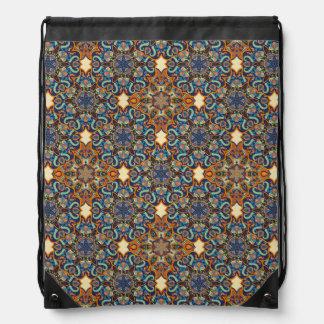 Colorful abstract ethnic floral mandala pattern de drawstring bag