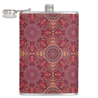 Colorful abstract ethnic floral mandala pattern de flasks