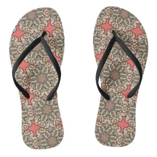 Colorful abstract ethnic floral mandala pattern de flip flops