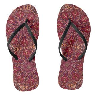 Colorful abstract ethnic floral mandala pattern de flip flops