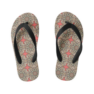 Colorful abstract ethnic floral mandala pattern de kid's flip flops