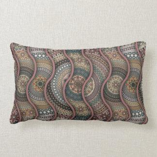 Colorful abstract ethnic floral mandala pattern de lumbar pillow