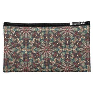Colorful abstract ethnic floral mandala pattern de makeup bag