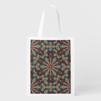 Colorful abstract ethnic floral mandala pattern de market totes