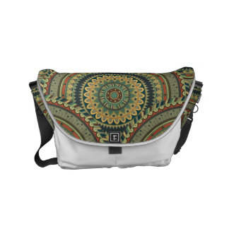 Colorful abstract ethnic floral mandala pattern de messenger bags