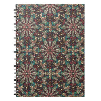 Colorful abstract ethnic floral mandala pattern de notebook