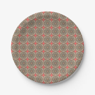 Colorful abstract ethnic floral mandala pattern de paper plate