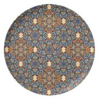 Colorful abstract ethnic floral mandala pattern de plate