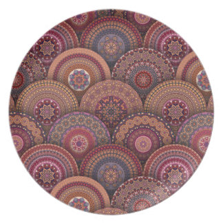 Colorful abstract ethnic floral mandala pattern de plates