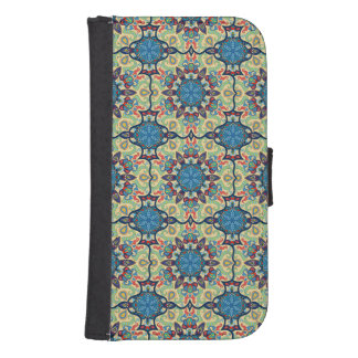 Colorful abstract ethnic floral mandala pattern de samsung s4 wallet case