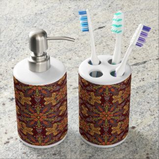 Colorful abstract ethnic floral mandala pattern de soap dispensers