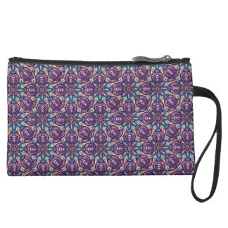 Colorful abstract ethnic floral mandala pattern de suede wristlet