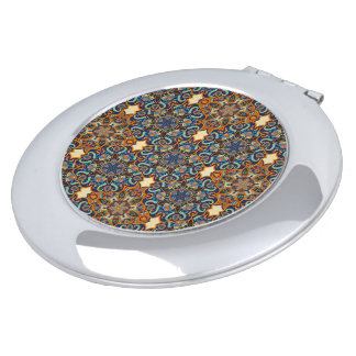 Colorful abstract ethnic floral mandala pattern de travel mirrors