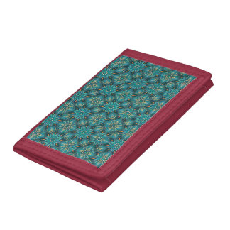 Colorful abstract ethnic floral mandala pattern de trifold wallets
