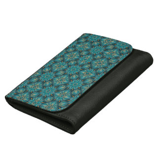 Colorful abstract ethnic floral mandala pattern de women's wallet