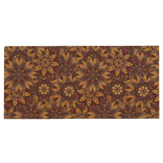 Colorful abstract ethnic floral mandala pattern de wood USB 2.0 flash drive