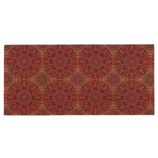 Colorful abstract ethnic floral mandala pattern de wood USB flash drive