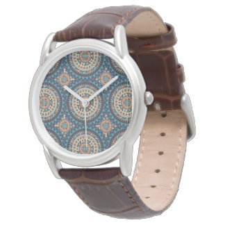 Colorful abstract ethnic floral mandala pattern de wrist watch