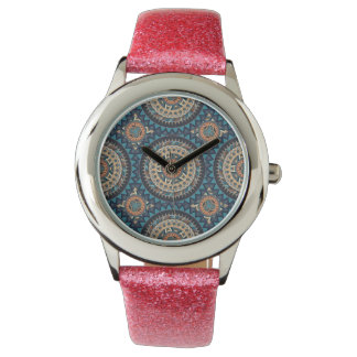 Colorful abstract ethnic floral mandala pattern de wrist watches