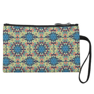 Colorful abstract ethnic floral mandala pattern de wristlet