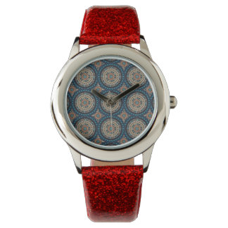 Colorful abstract ethnic floral mandala pattern de wristwatches