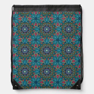 Colorful abstract ethnic floral mandala pattern drawstring bag