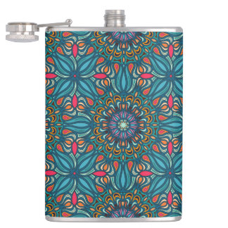 Colorful abstract ethnic floral mandala pattern flasks