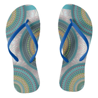 Colorful abstract ethnic floral mandala pattern flip flops