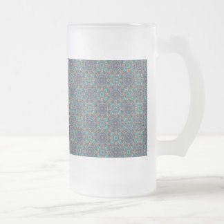 Colorful abstract ethnic floral mandala pattern frosted glass beer mug
