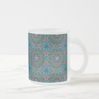 Colorful abstract ethnic floral mandala pattern frosted glass coffee mug