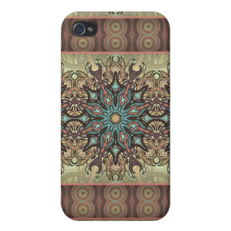 Colorful abstract ethnic floral mandala pattern iPhone 4/4S covers