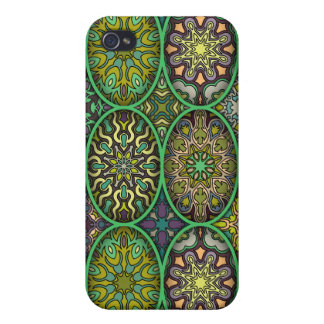 Colorful abstract ethnic floral mandala pattern iPhone 4 case