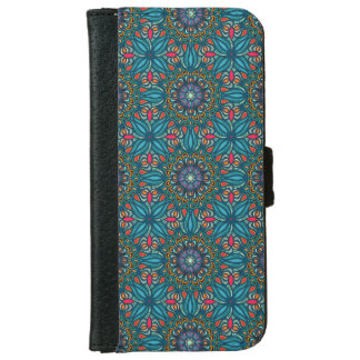 Colorful abstract ethnic floral mandala pattern iPhone 6 wallet case