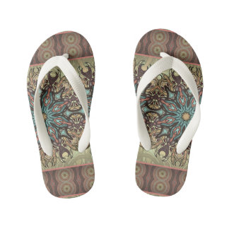 Colorful abstract ethnic floral mandala pattern kid's flip flops